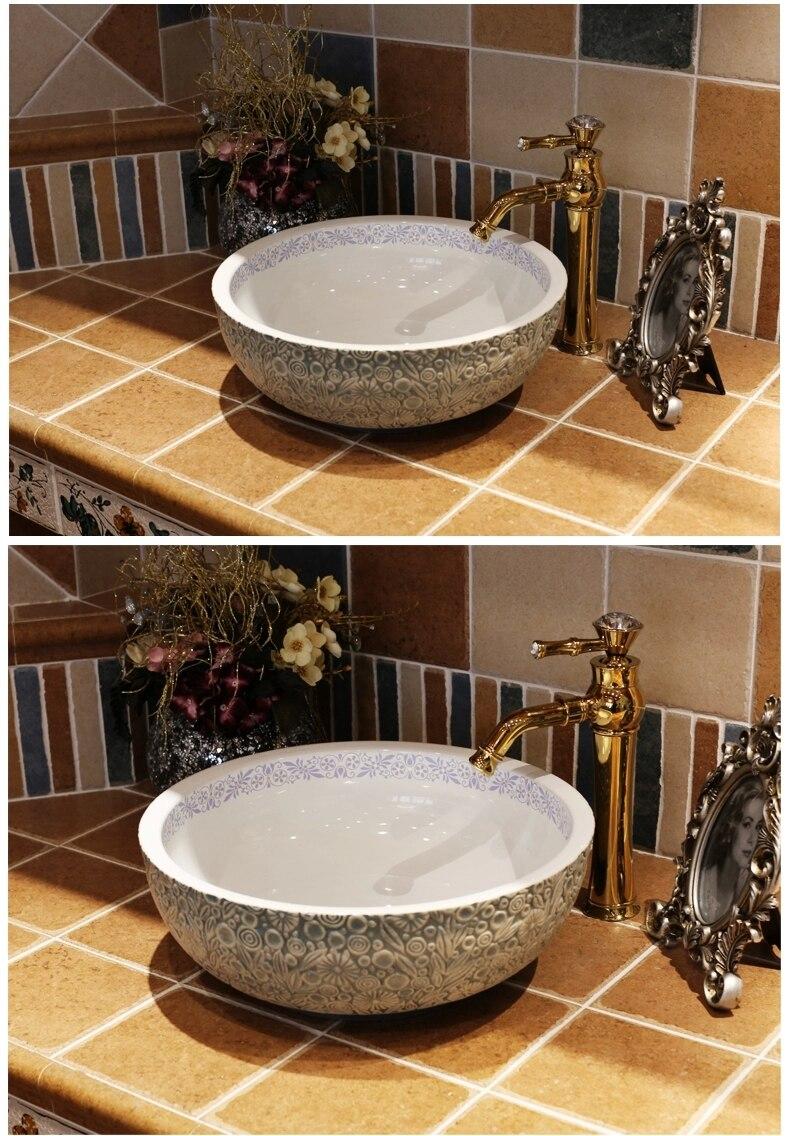 Vintage style bathroom sinks - Aliexpress Com Buy Europe Vintage Style Art Porcelain Countertop Basin Sink Handmade Ceramic Bathroom Vessel Sinks Vanities Bowl Wash Basin From Reliable