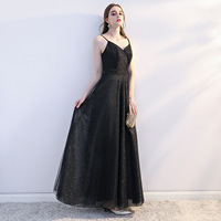 Black Women Elegant Sexy Long Dresses Lace A Line Backless Formal Party Maxi Dress
