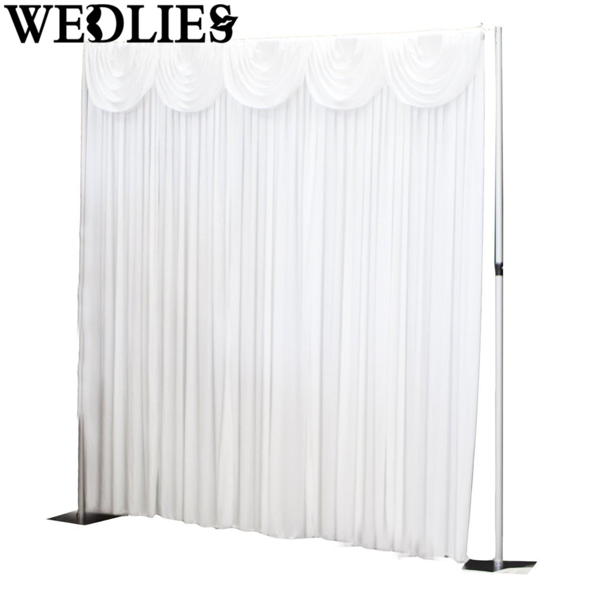 Cheap black stage curtains - White Wedding Stage Backdrop Photography Background Drape Valance Curtain Pendant Wedding Party Events Decoration 300x300cm
