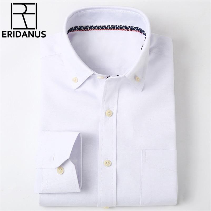 2016 m. Naujas mados dizainas atsitiktinis verslo vyrų marškinėliai ilgomis rankovėmis aukštos kokybės Oxford Slim Fit vientisa spalva Mens suknelės marškinėliai M016