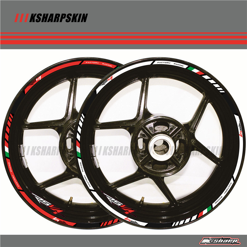 12 X Thick Edge Outer Rim Sticker Stripe Wheel Decals FIT APRILIA RSV4 17''