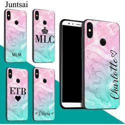 Juntsai индивидуальное инициалы имя розовый Мрамор чехол телефона Для Сяо mi красный mi 6 Pro 6A 5 плюс S2 Примечание 7 5 5A 4X mi 8 9 A2 mi x 2 F1