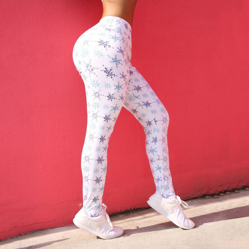 New Fashion Snow Pattern Printing Leggings Women High Waist Push Up Pants Female Sexy Workout Fitness Pants Slim Women Leggings 2
