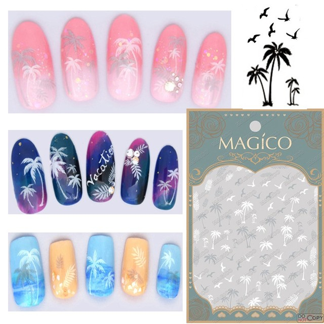 Wholesale 24pcs White Palm Trees Nail Art Sticker Summer Nail Decals ...
