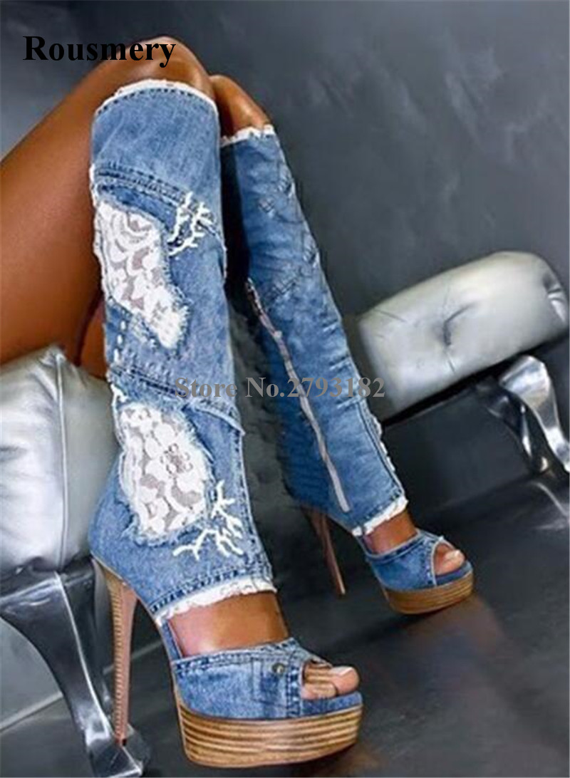 Brand Fashion Women Peep Toe Blue Denim High Platform Thin Heel Knee High Gladiator Boots Sexy Slim Long High Heel Jean Boots