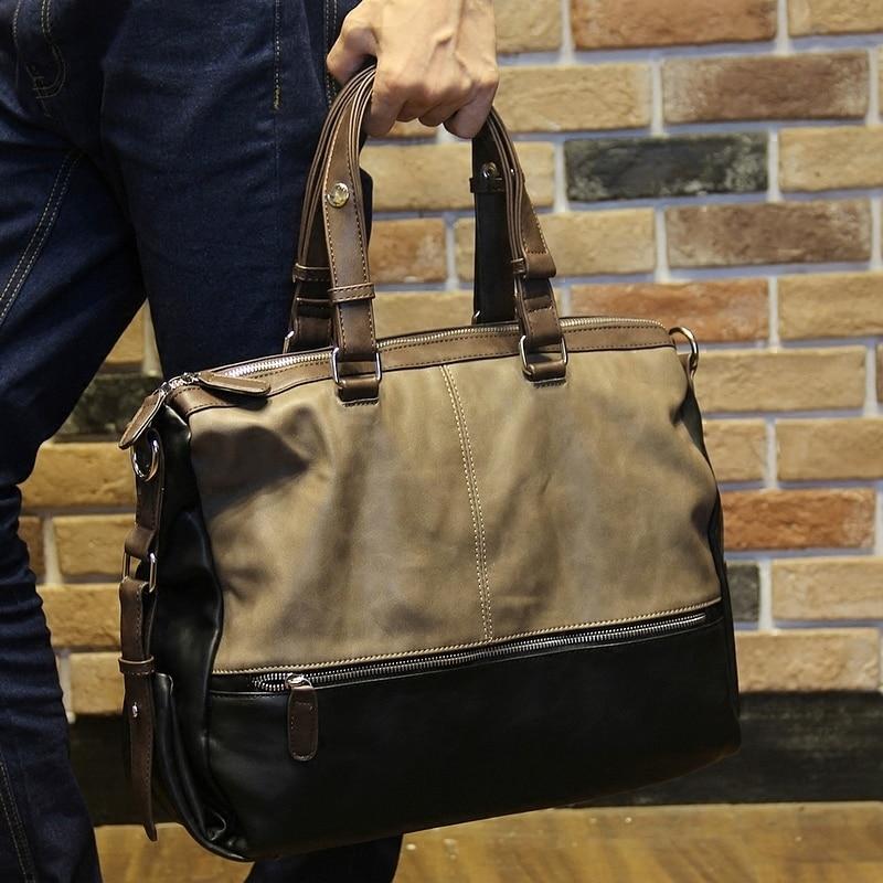 New Fashion Men's Soft pu leather handbag leisure Travel Case Duffel Shoulder bag Laptop Hand bag Multifunction messenger bag