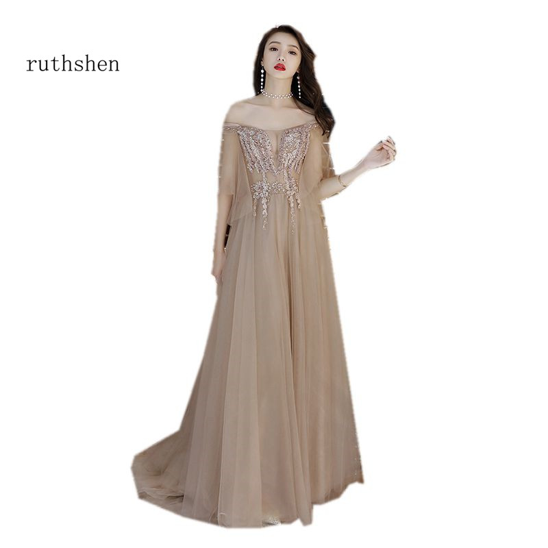 ruthshen Elegant   Prom     Dress   Illusion Half Sleeves Champagne Tulle Beaded 3D Flower Woman   Prom   Long   Dress   Off The Shoulder 2018