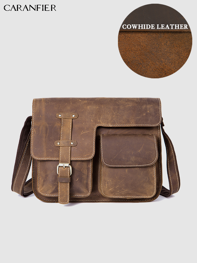 CARANFIER Mens Briefcases Vintage Crazy Horse Shoulder Crossbody Bags Genuine Cowhide Leather Male Laptop Computer Travel Bags