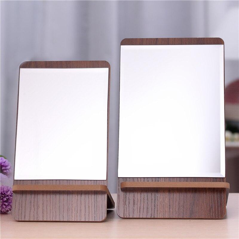 mesa de belleza espejo de madera espejo de mesa cuadrada de madera espejo de vanidad