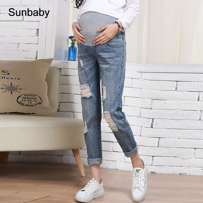 SUNbaby maternity jeans ripped jeans pregnant clothes P0401 image