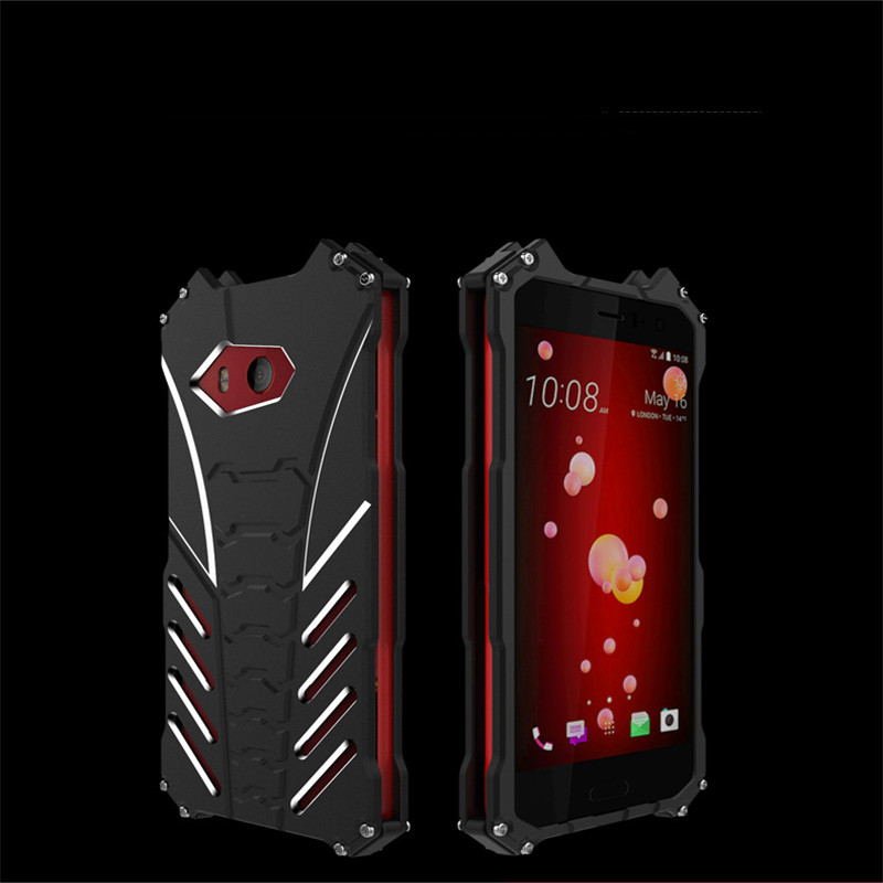 For HTC U11 Case Armor Heavy Dust Metal Aluminum CNC BATMAN Protect Skeleton Head Phone for XA1 Shell Case Cover+bracket