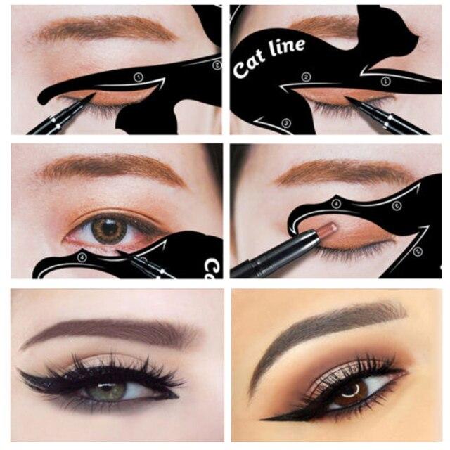 BONNIE CHOICE Cat Eye Liner Card Beauty Mold Stencils Pro Eye Makeup Tool Template Shaper Model For Eye Makeup Tool 2