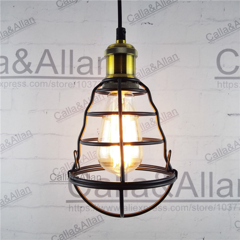 Black iron bird cage big size lampshade pendant light E27 AC110V/220V industrial edison pendant lamp retro loft lighting mona liza mona liza 240 260