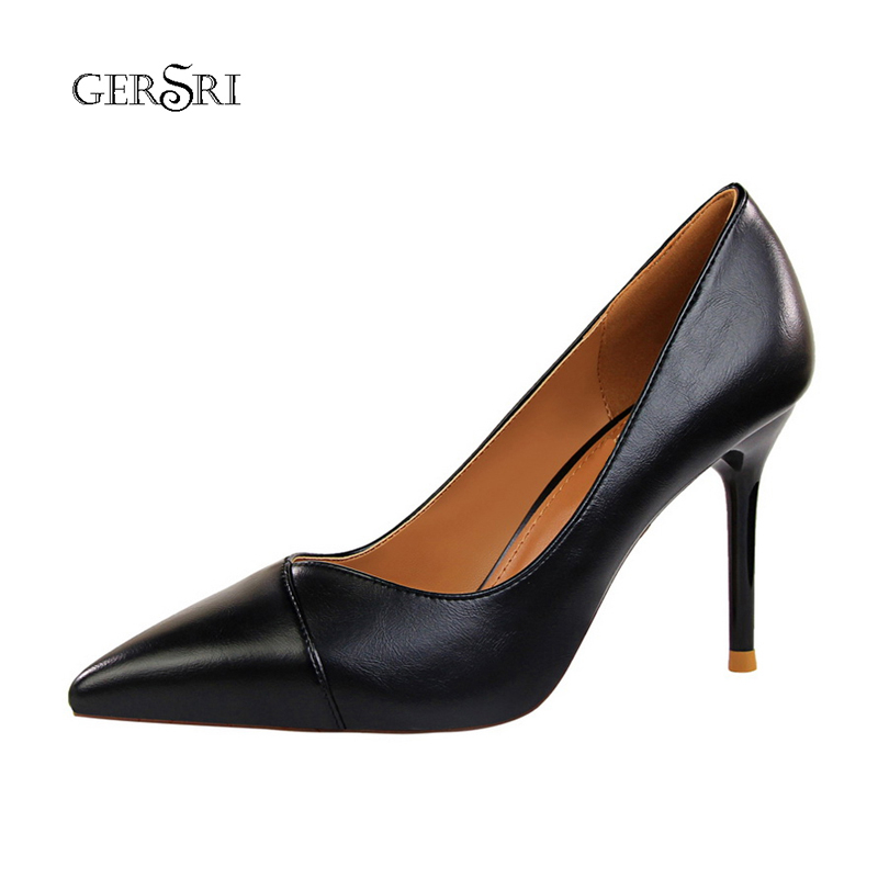 Gersri Women's Shoes Pumps High-Heels Pointed Ladies New-Fashion Black Office All-Match