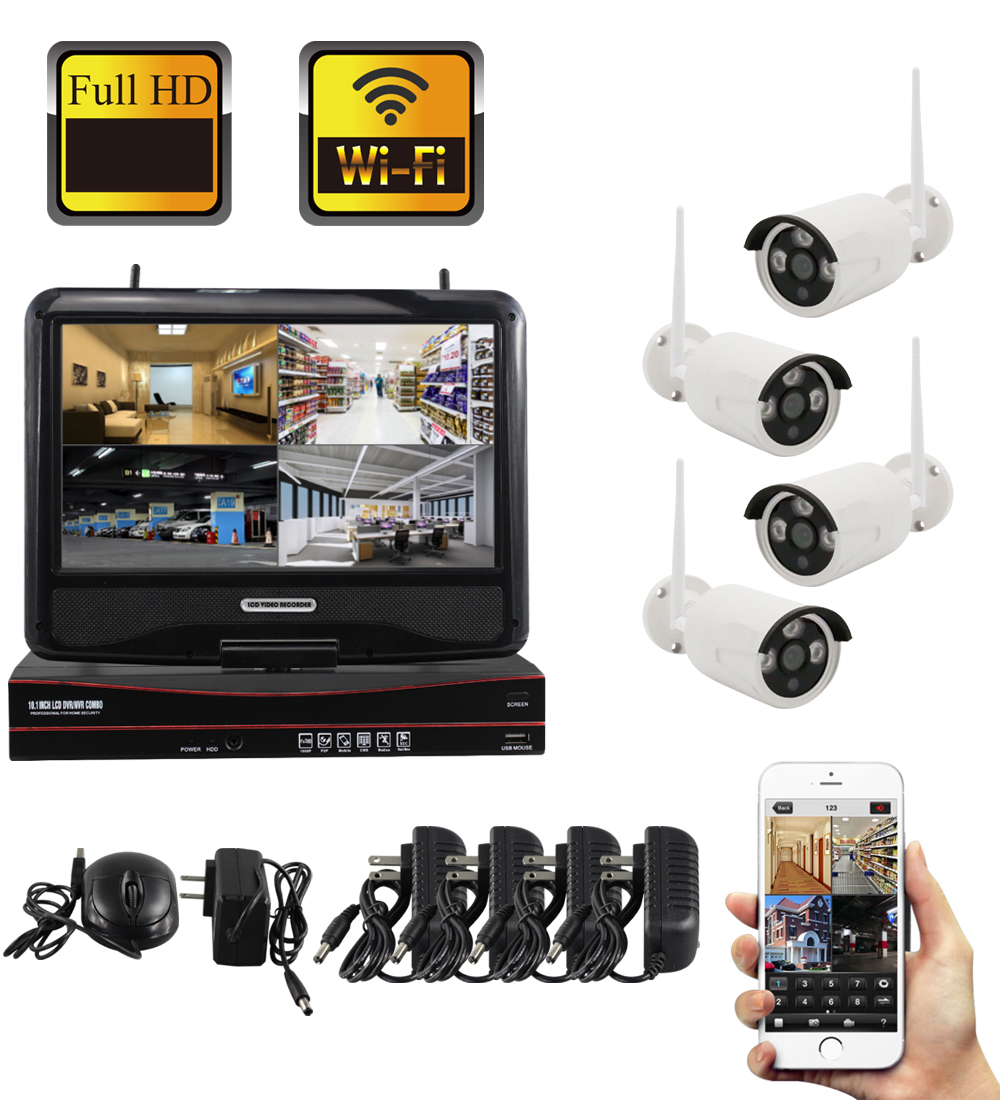 Yobang Security 4CH 1.3MP WIFI NVR Kits Waterproof IP66 Wireless IP Camera Surveillance CCTV Security System Motion Detection