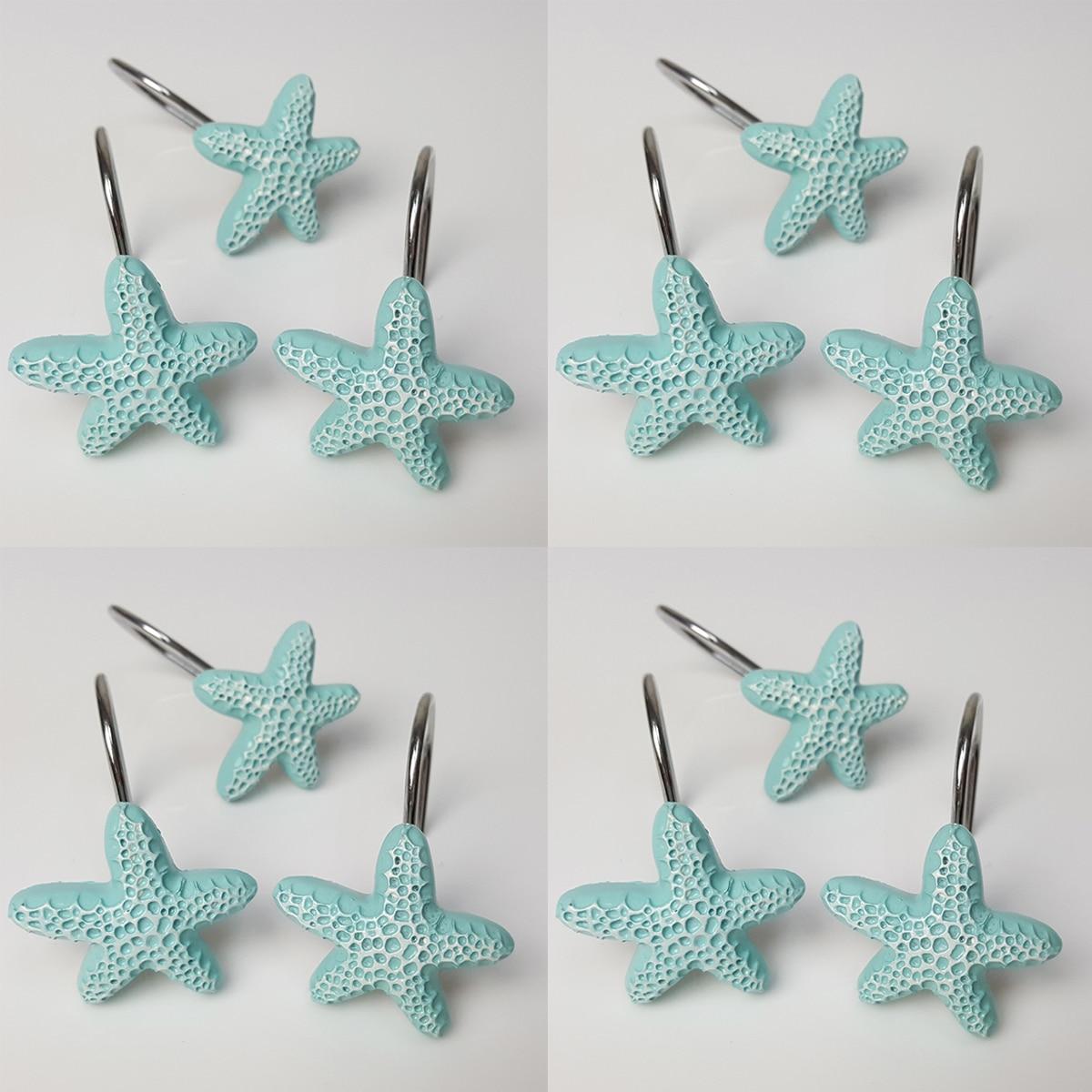 Blue Resin Sea Star Shower Curtain Hooks Bath Hanger Holder Hotel Home Decoration Bathroom Accessories 12PCS Set