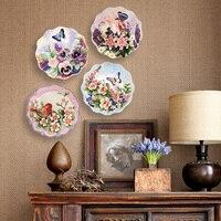 Mano de cerámica tallada Flores y pájaros pintados placa colgante de pared cerámica decorada casa decoraciones