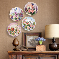 ceramic hand carved flowers and birds painted ceramic hanging plate wall decorated home decors