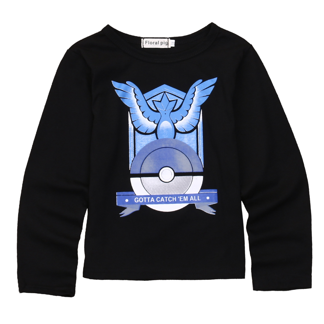 Autumn Boys T-shirt Kids Boys girls Pokemon Go Team Valor Mystic Instinct Long Sleeve Tops Blouse shirt outfit