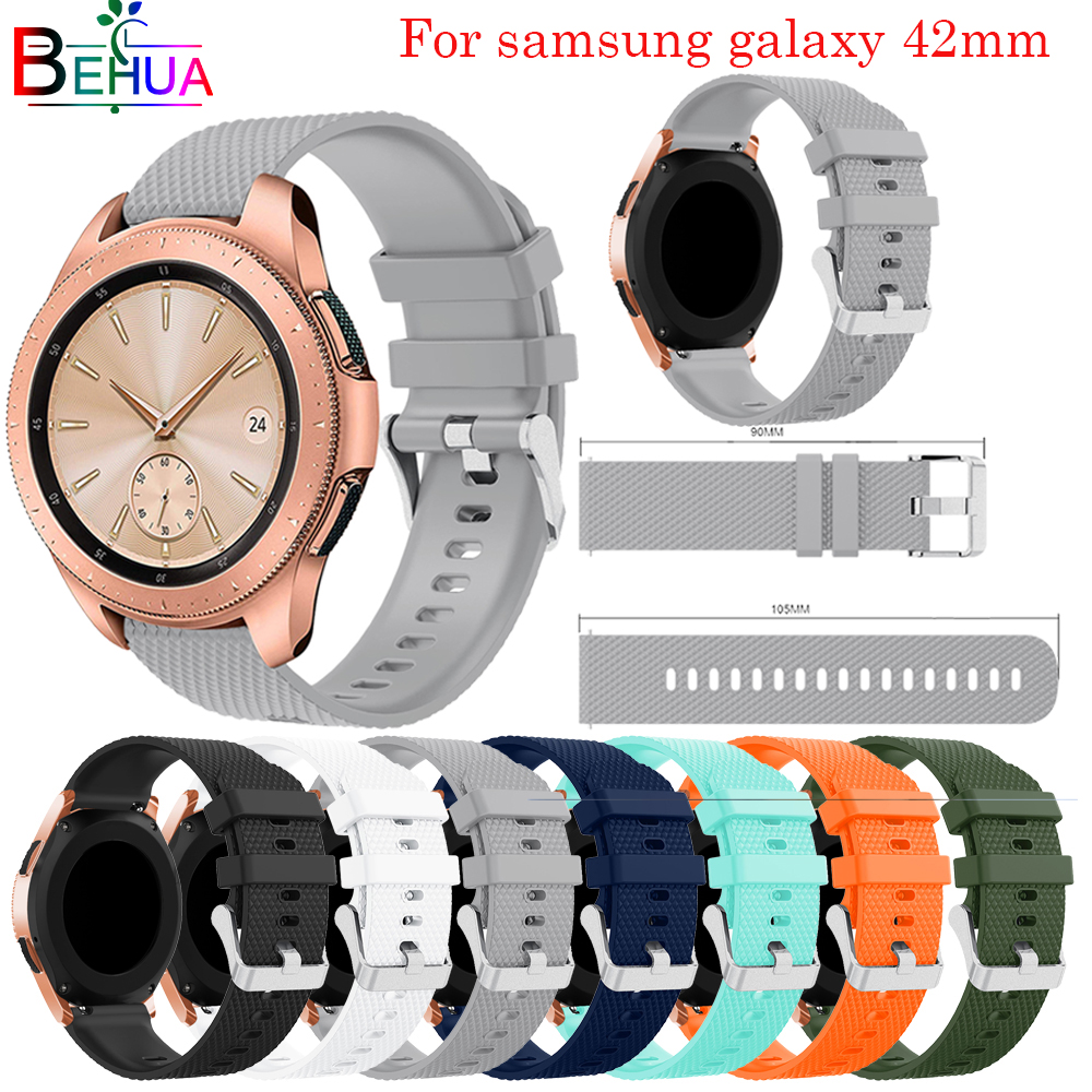 42mm band For Samsung Galaxy watch strap Replacement quality Sport Affordable Silicone strap For Samsung Galaxy Watch 20mm strap in Watchbands from Watches