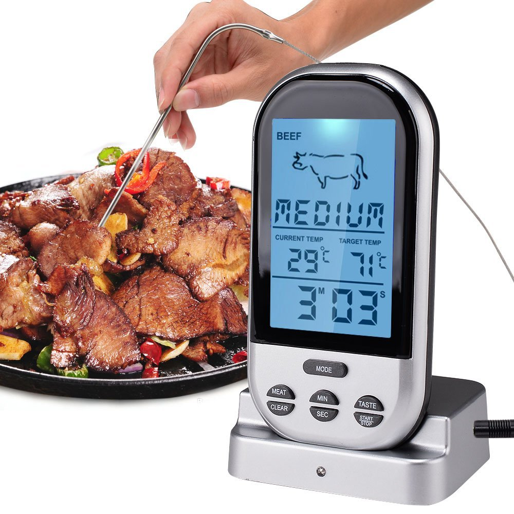 Meat Thermometers Bluetooth LCD Digital Probe Remote Wireless BBQ Grill Kitchen Thermometer Home Cooking Tools With Timer Alarm