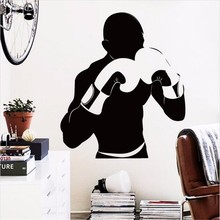 Free Shipping diy  Creative Arts Decoration Wall Stickers Vinyl boxing player removable home decor sports gym