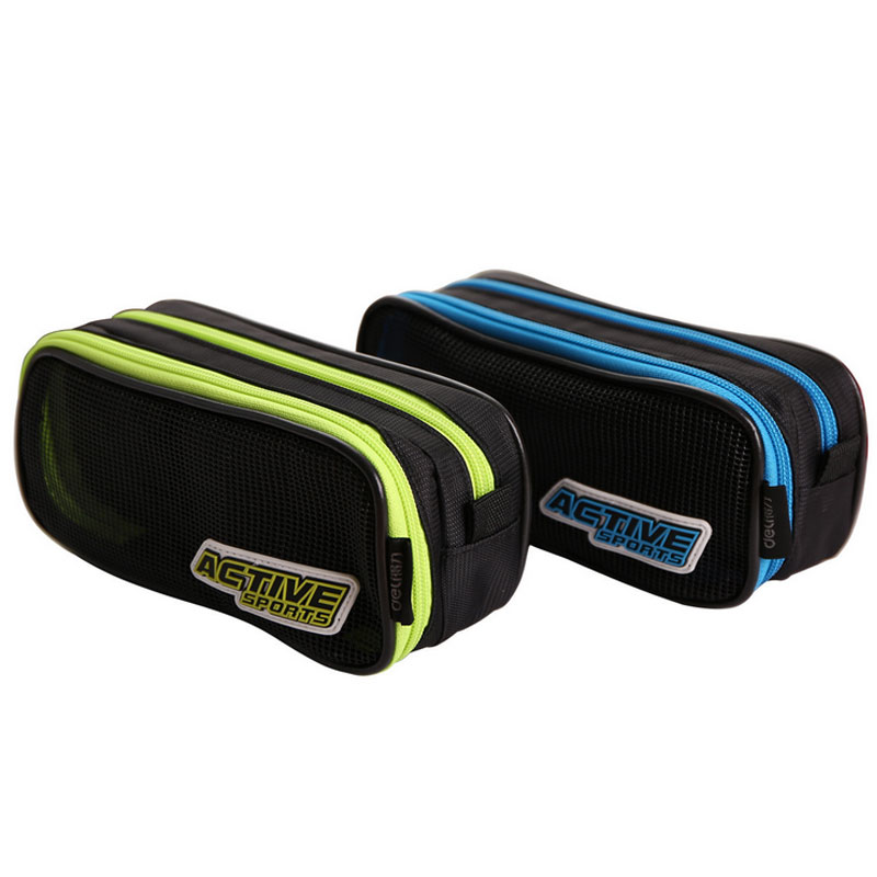 Sport 2 Layer Pencil Case Middle School 2 Colors Mesh Canvas Pencil Bag For Children Kalem Kutusu Stationery
