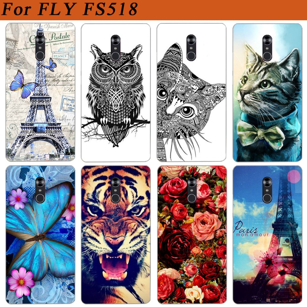 For Fly Cirrus 13 FS518 Case Cover Pattern Painted Colored Tiger Owl Soft Tpu Case For Fly Fs518 Cirrus 1 Fundas Phone Sheer image