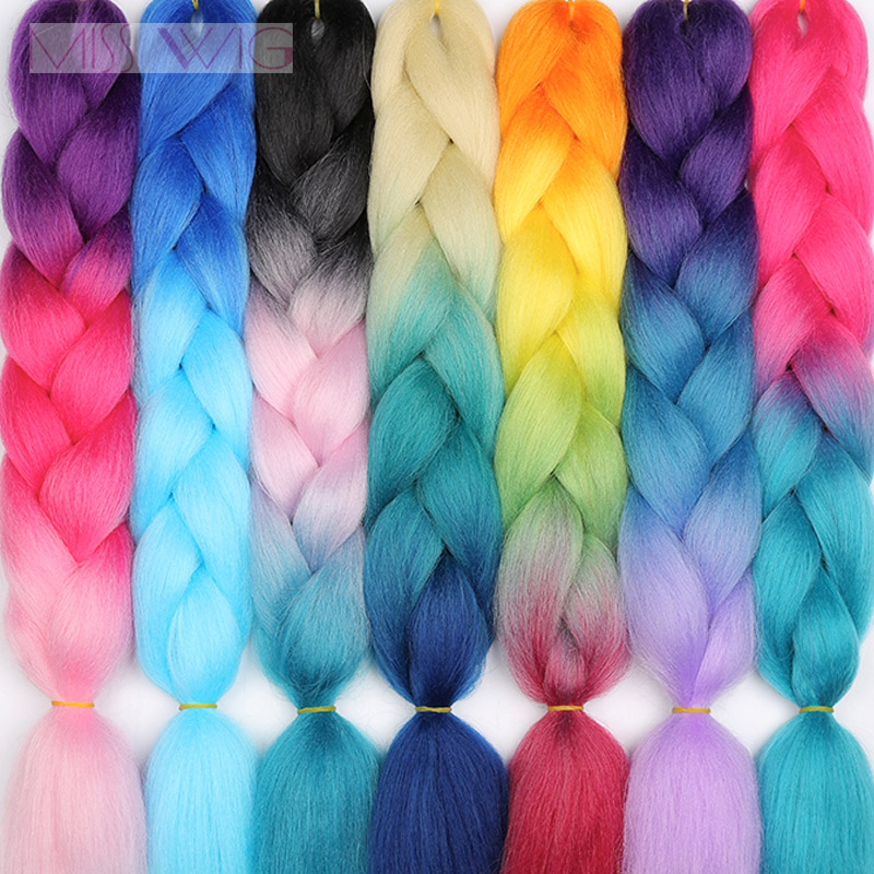 MISS WIG Ombre  Crochet Hair Jumbo Braids Hairstyles Synthetic Hair For Women 88 Colors Available 24'' 100g