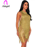 74bc3ccdd Adogirl Female O Neck Hollow Out Knitted Dress Sleeveless Club Dress Sexy  Women Overalls Transparent Golden