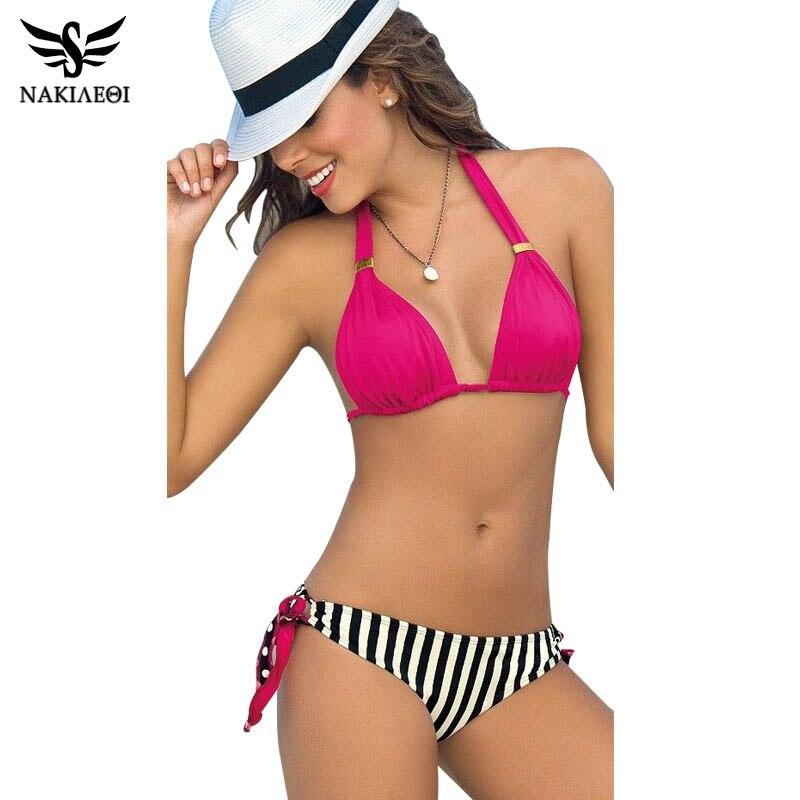 NAKIAEOI 2017 New Sexy Bikini Push Up Swimwear Women Swimsuit Halter Retro BeachWear Brazilian Bathing Suits Bikini Set Biquini nakiaeoi 2017 sexy bikinis women swimsuit push up swimwear halter solid brazilian bikini set beachwear bathing suits swim wear
