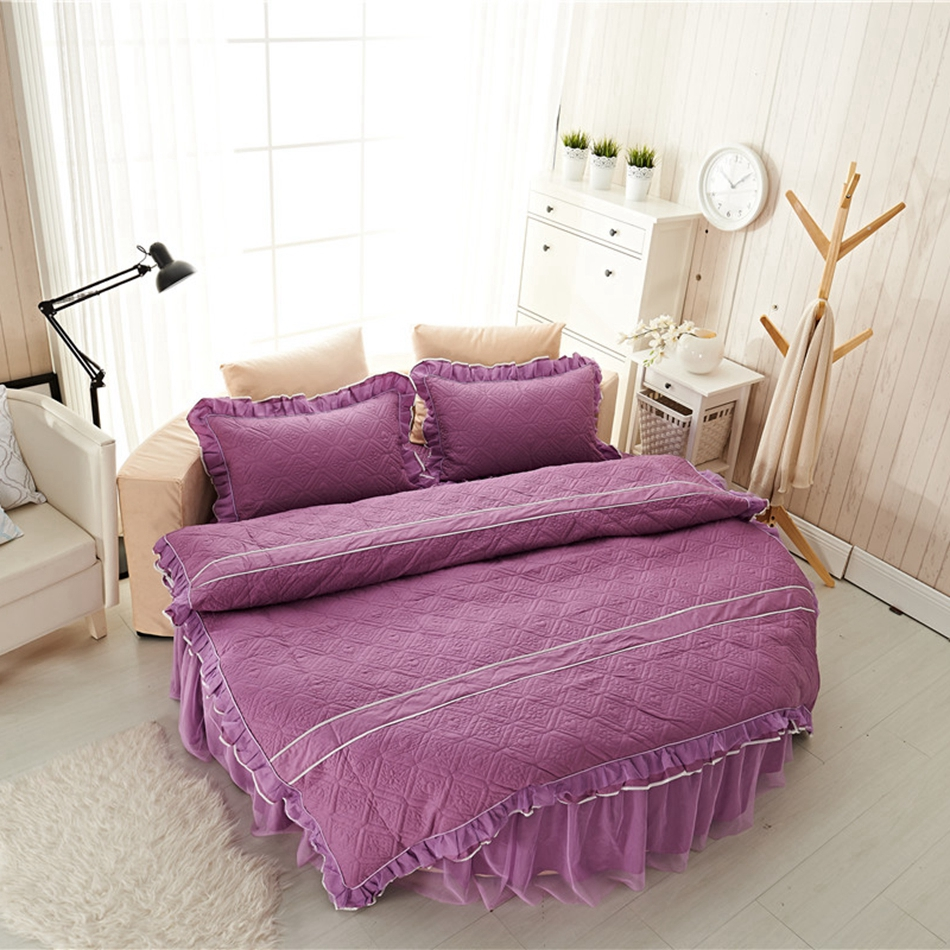 Plum and green bedding - 100 Cotton Quilted Duvet Cover Set For Home Romantic Purple Bed Skirt Solid Color
