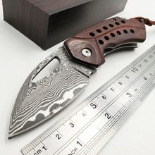 лучшая цена Damascus D2 Folding Knife Rosewood Handle Outdoor Camping Combat Pocket Fruit Knives Survival Hunting Tactical Utility EDC Tools