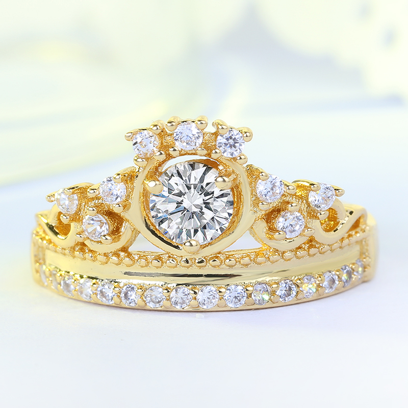 2018 New Fashion Gold Rose Gold 2 Color Crown Rings for Women Zircon Wedding Promise Rings Fashion Jewelry Wholesale