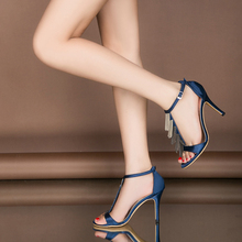 2018 Summer Sexy Stiletto High Heel Women's Sandals Shoes Pumps Black Fringe Peep-toe High heels Wedding Sandals Party Shoes 20