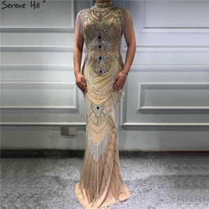 Image 3 - Dubai Gold Hoge Kraag Luxe Avondjurken 2020 Mouwloze Diamant Kralen Kwastje Sexy Avondjurken Serene Hill LA60893