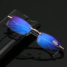 Бескаркасные квадратные очки для чтения для мужчин женщин анти синий светильник компьютерные очки дальний прицел Пресбиопия читатель очки
