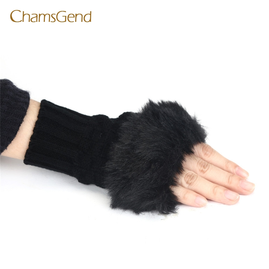 CHAMSGEND Drop Shipping 2017 Fashion high quality Women Warm Winter Faux Rabbit Fur Wrist Fingerless Gloves Mittens JUN27