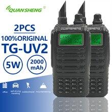 2 piezas de iluminación led en TG UV2 Walkie Talkie de banda Dual jamón Vhf Uhf Radio móvil PTT portátil Interphone TG UV2 de dos vías transceptor de Radio