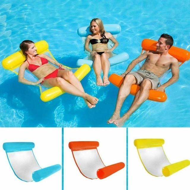 Livraison directe 2019 été eau hamac natation gonflable flottant flotteurs salon lit chaises eau jouer piscines meilleur cadeau femme