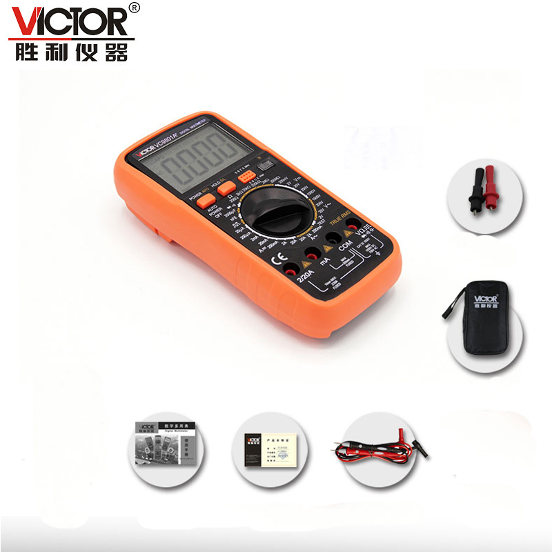 high quality VICTOR VC9801A+ True RMS 3 1/2 LCD digital Multimeter Electrical Meter AC/DC Voltmeter Ohmmeter handhold tester