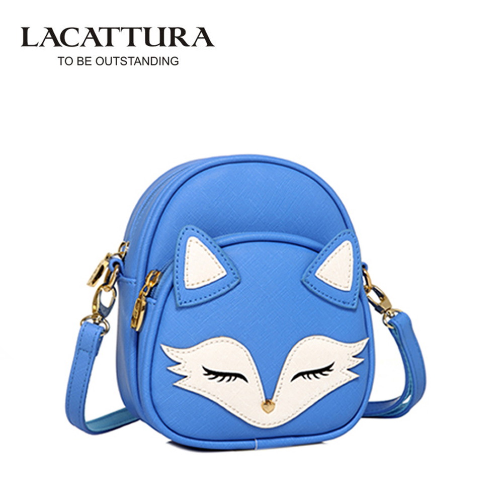 Lacattura сонный Лис Для женщин сумка для маленьких девочек мини-сумка для Для женщин Сумки через плечо женские кожаные Сумки животных сумка ...