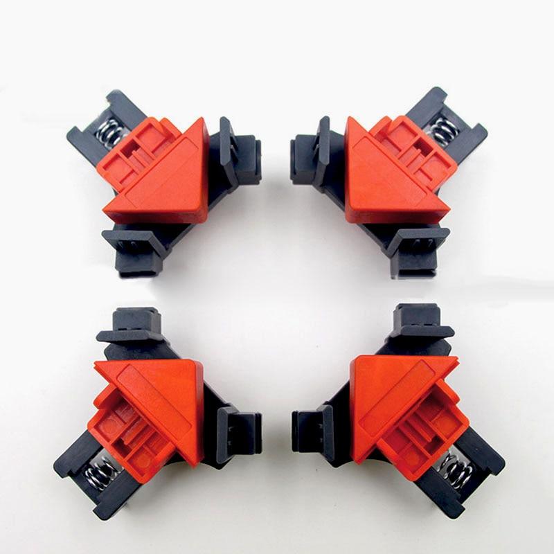 4 pièces 5-22mm réglable 90 degrés Angle droit métal + PC pince cadre photo coin fixation Clips pinces menuiserie outils à main