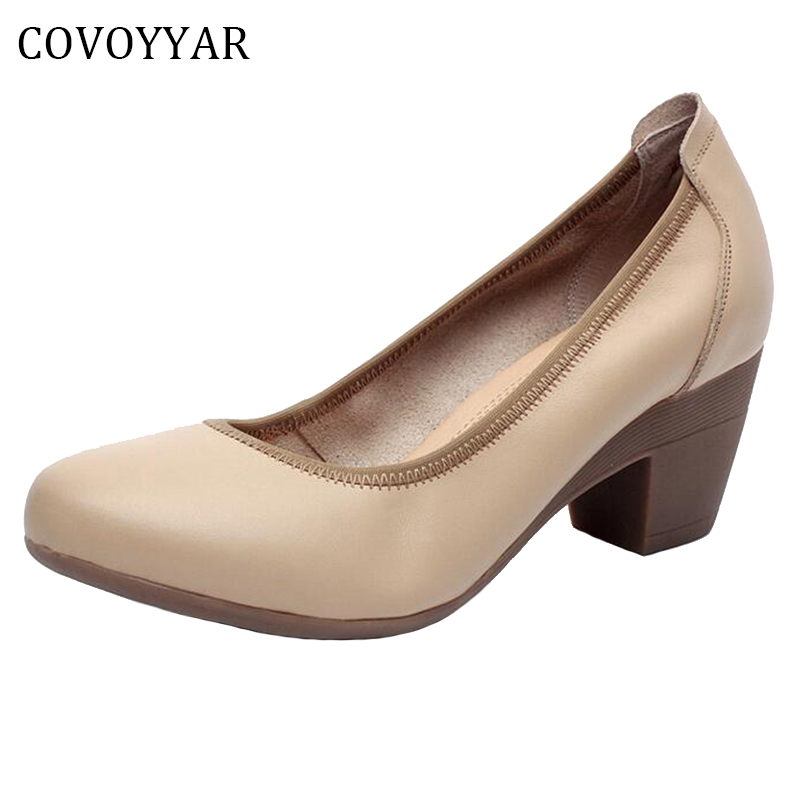 COVOYYAR 2019 Genuine Leather OL Women Shoes Thick Med Heels Lady Office Work Shoes Spring Autumn Dress Pumps Size 34-43 WHH99