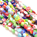Handmade Millefiori Glass Flat Round Bead Strands, Single Flower Design, Colorful, 6x3mm, Hole: 1mm, about 66pcs/strand, 15.9""