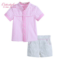 Cutestyles Fashion Boy Clothing Set. Pink Stripe Shirts And Jacquard Short  Handsome Bontique Causal Boys Clothes B-DMCS906-808