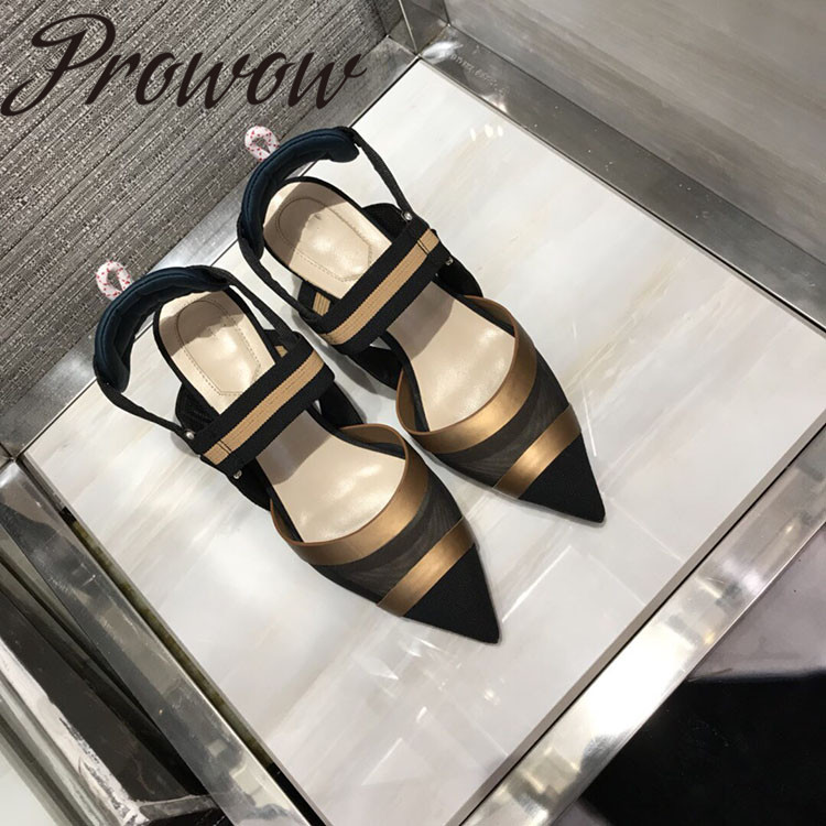 Prowow New Brand Designer embroidery Floral Spring Summer Pumps Sexy Pointed Toe High Heel Pumps Shoes Women