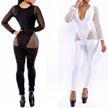 цены на MUXU black sexy transparent long sleeve bodysuit rompers womens jumpsuit one piece body femme womens clothing v neck combishort  в интернет-магазинах