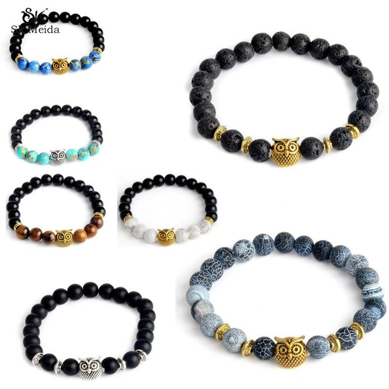 High Quality Owl Handmade Beaded Bracelet Charm Elastic Natural Stone Bracelet Men Women Lava Bracelet Jewelry HE-67
