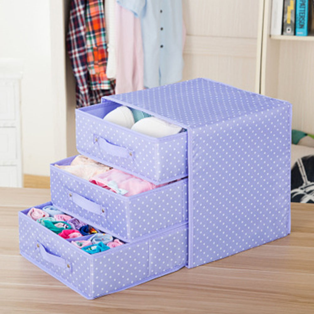 Underwear Storage Box Cotton and Linen Drawer Double Cloth Bra Socks Home Finishing Box Organizer Storage Boxes